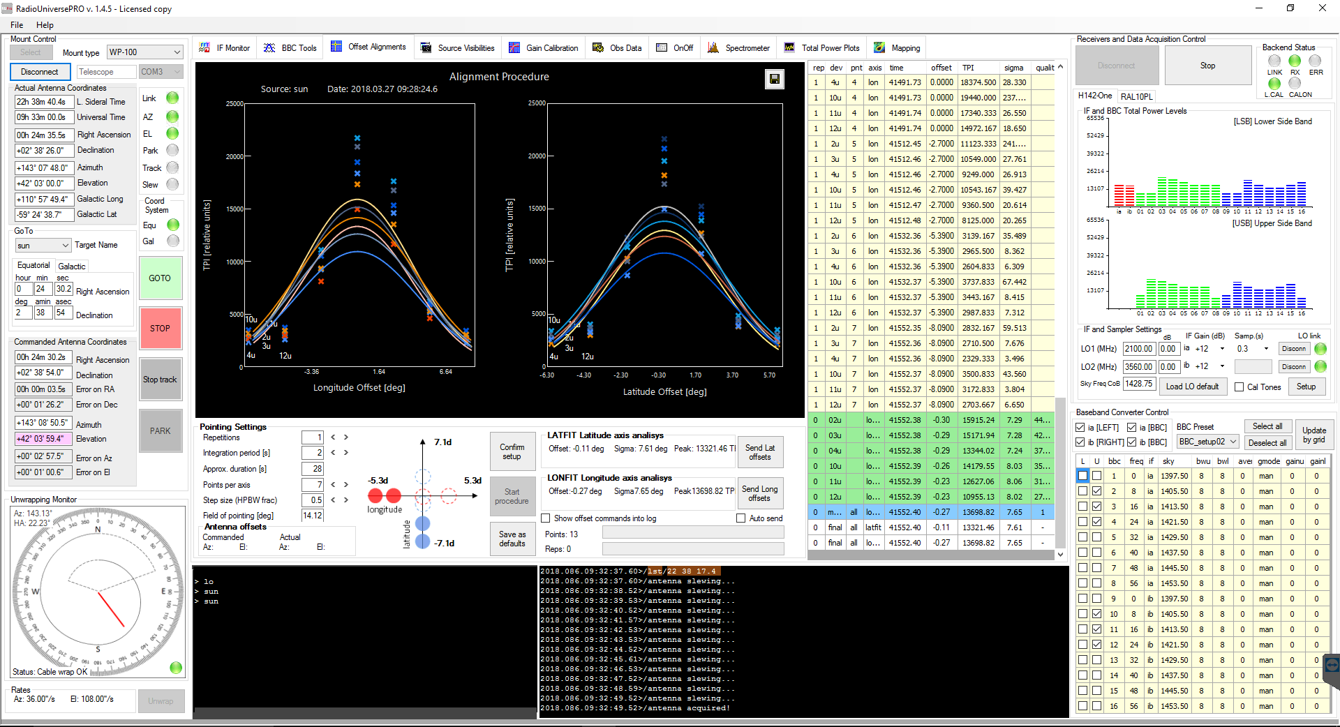 RadioUniversePRO software for radio astronomy and radio telescope: Offset Alignment