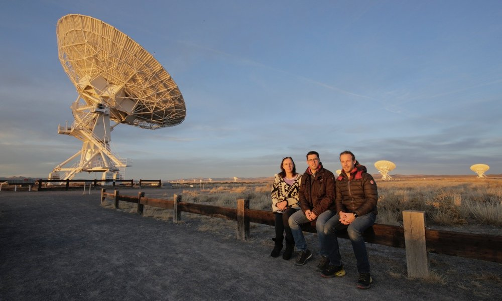 Filippo Bradaschia and Omar Cauz (Radio2Space) with Farah Payan (Woodland Hills Camera & Telescope) during visit to the Very Large Array