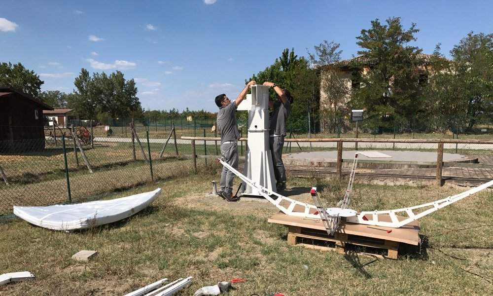 SPIDER 300A installed in Medicina radio telescopes Visitor Center: installation of WP-100 mount with C106-HEAVY pier for concrete base