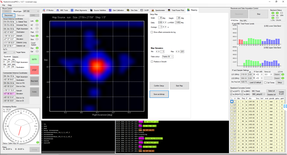 A compact radio telescope for amateur radio astronomy: the RadioUniversePRO software allows you to align on the radio sources you can't see and record even radio maps of the radio sources.