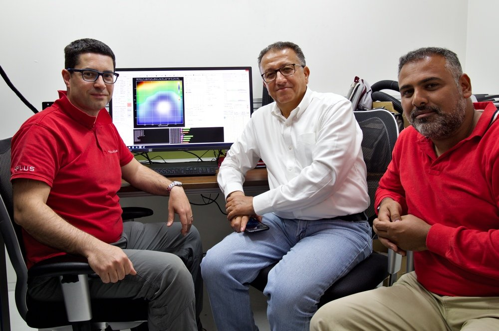 Orion A mapped with the SPIDER 500A radio telescope in Sharjah: Filippo Bradaschia (left) with Professor Ilias Fernini (center) and Issam S. Abujami (right) after the first light acquisition.