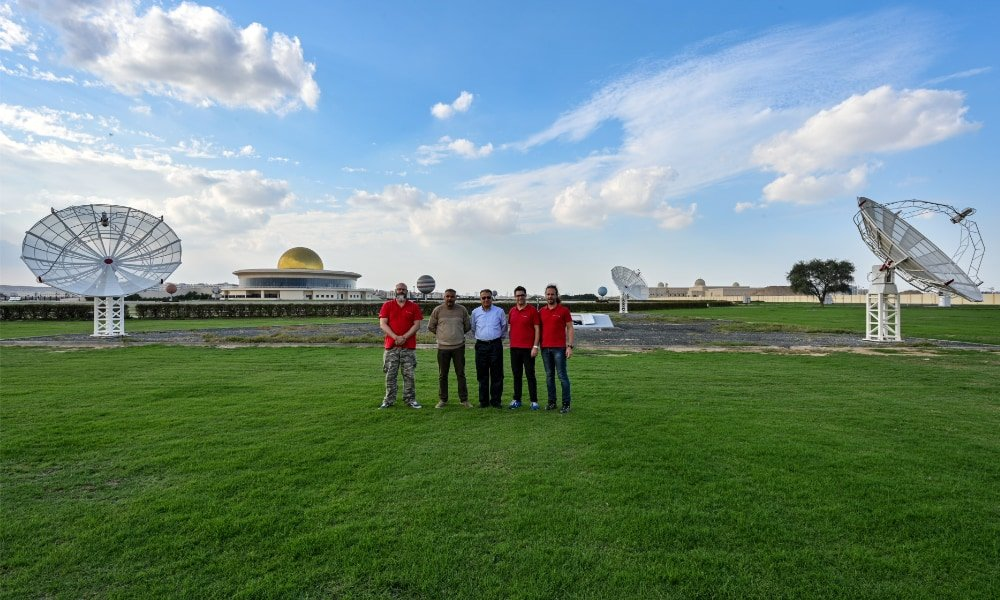More SPIDER 500A radio telescopes installed in Sharjah Academy for Astronomy, Space Sciences & Technology: from the left: Dario Gava (Radio2Space installation services manager), Issam S. Abujami (SCASS IT & System Specialist), Professor Ilias Fernini (SCASS Professor of Physics and Astronomy), Filippo Bradaschia (Radio2Space general manager) and Omar Cauz (head designer of Radio2Space).