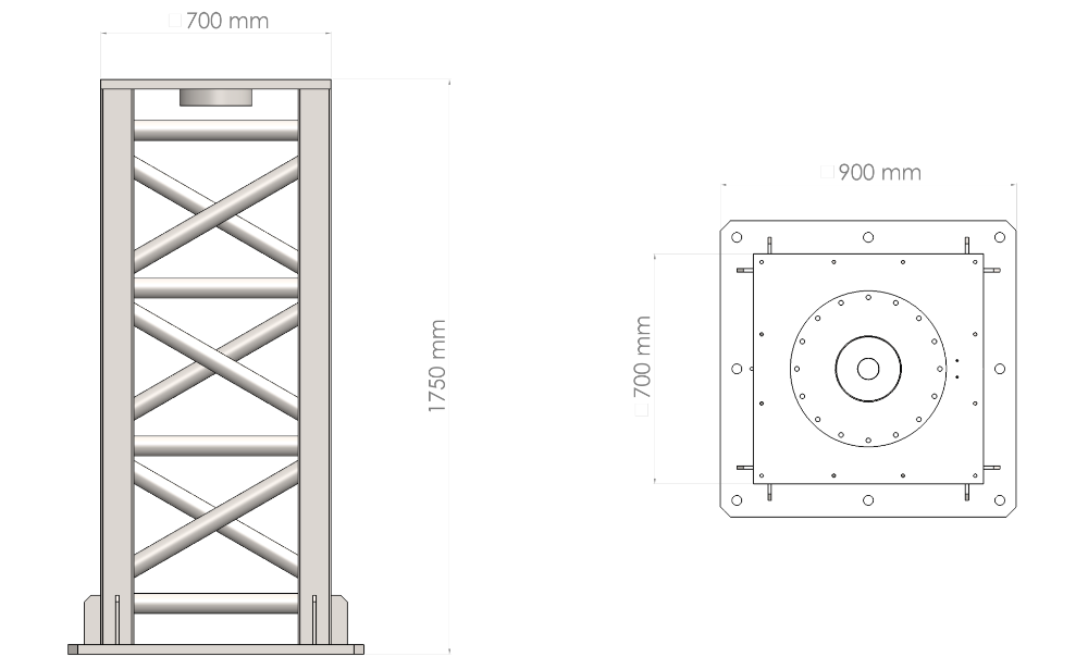 C400-HEAVY pier for concrete base: dimensions
