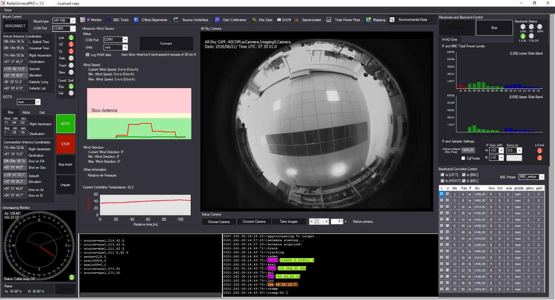 RadioUniversePRO software per radioastronomia e radiotelescopi: Envirnomental data