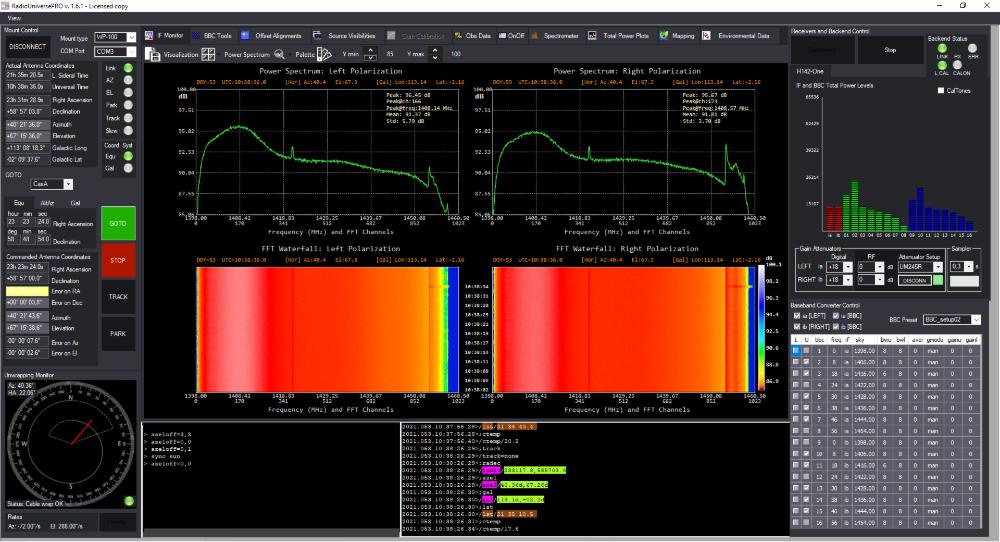 RadioUniversePRO software for radio astronomy and radio telescope: IF Monitor
