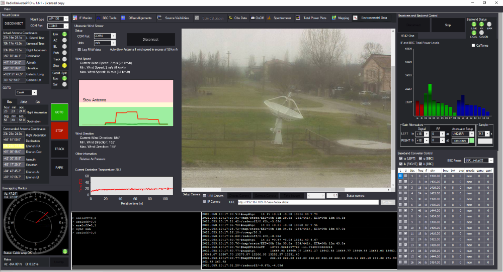 RadioUniversePRO software for radio astronomy and radio telescope: Envirnomental data