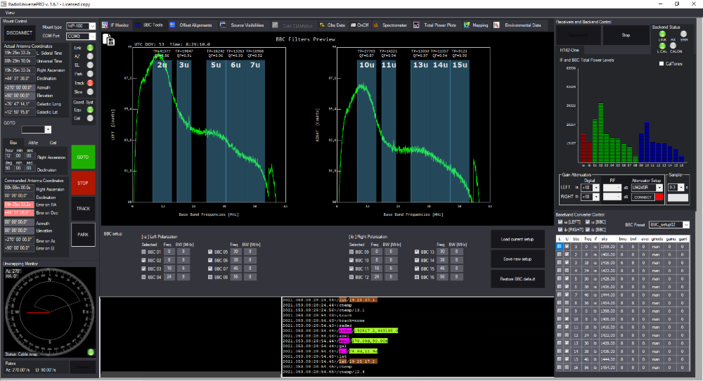 RadioUniversePRO software for radio astronomy and radio telescope: BBC Tools