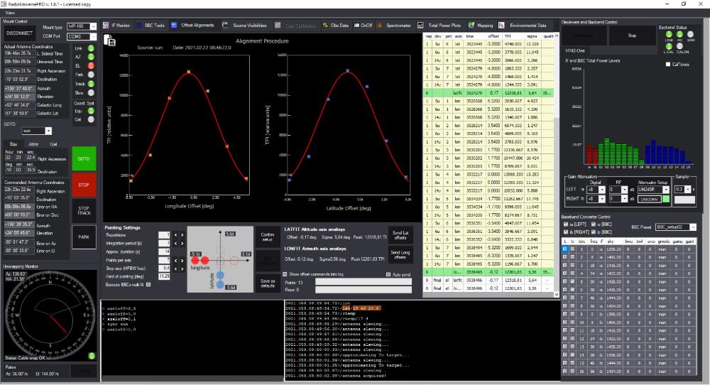 RadioUniversePRO software for radio astronomy and radio telescope: Offset alignment