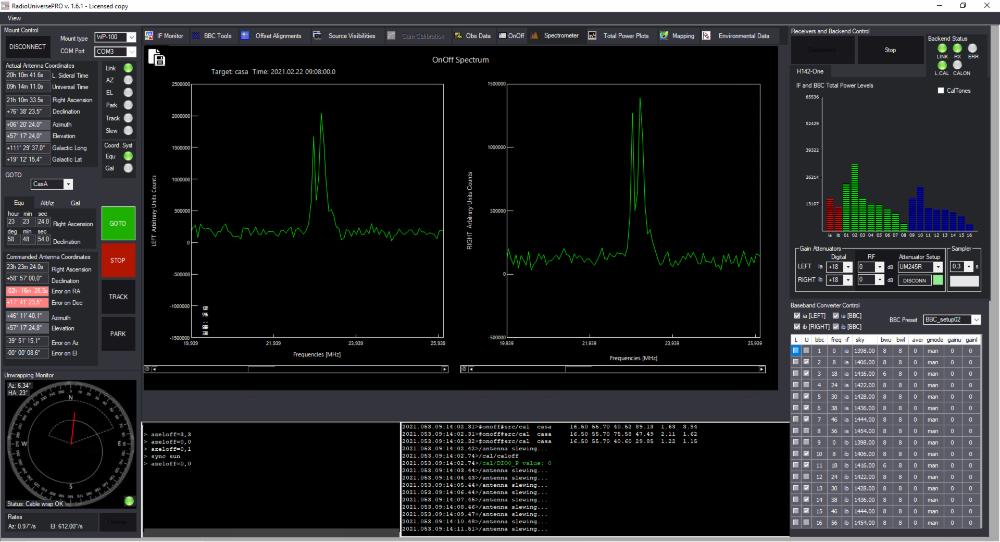RadioUniversePRO software per radioastronomia e radiotelescopi: Spectrometer