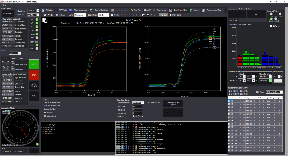 RadioUniversePRO software for radio astronomy and radio telescope: Total Power Plots