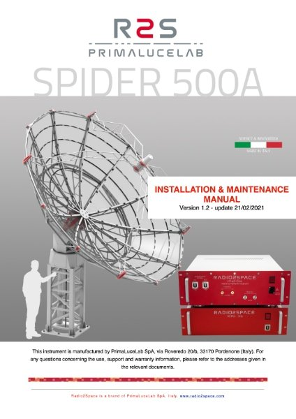 SPIDER 500A radio telescope installation and maintenance manual