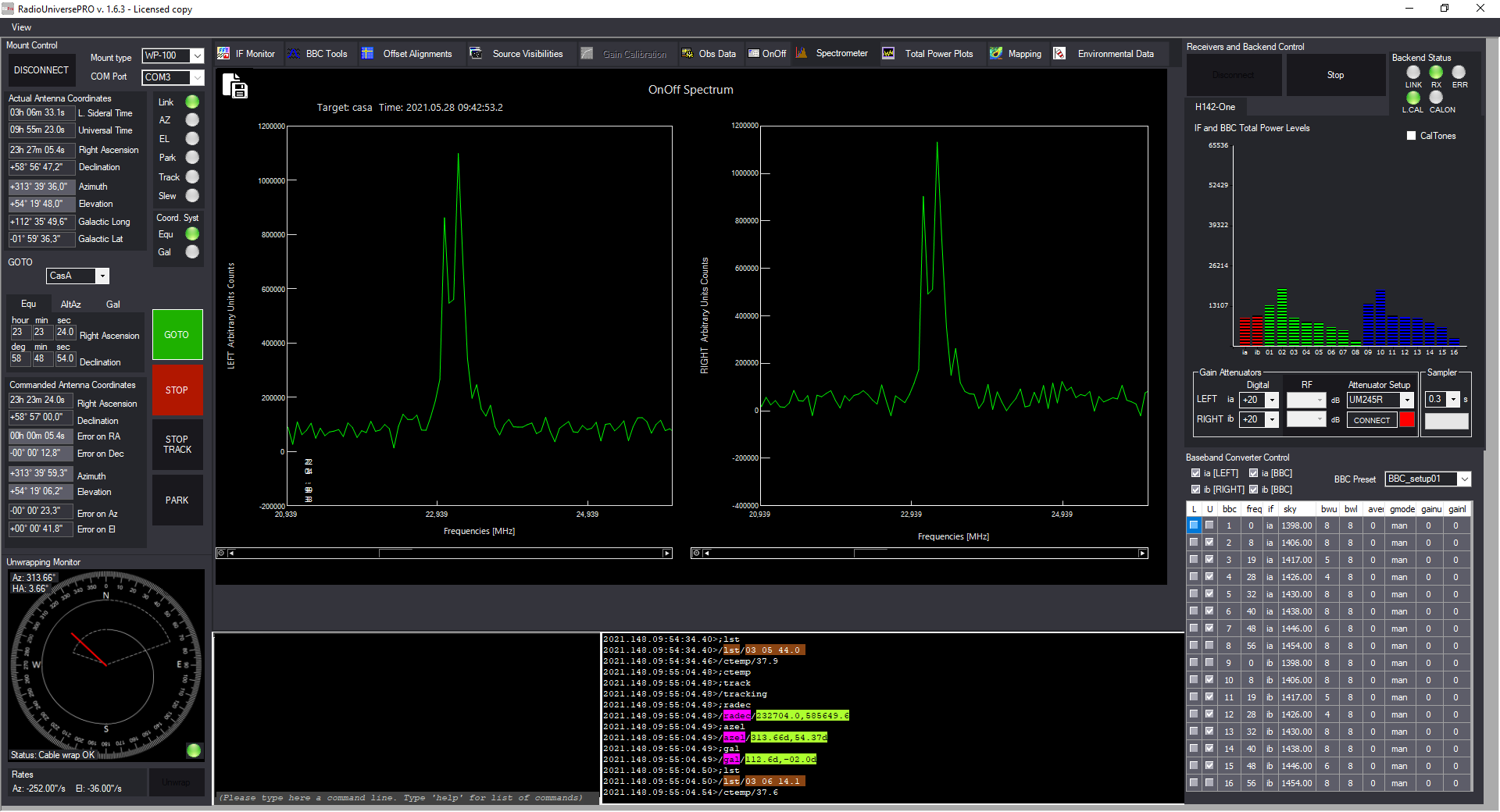 Cassiopea A recorded with SPIDER 300A radio telescope: calibrated spectrum of Cassiopea A with neutral hydrogen line at 1420 MHz.