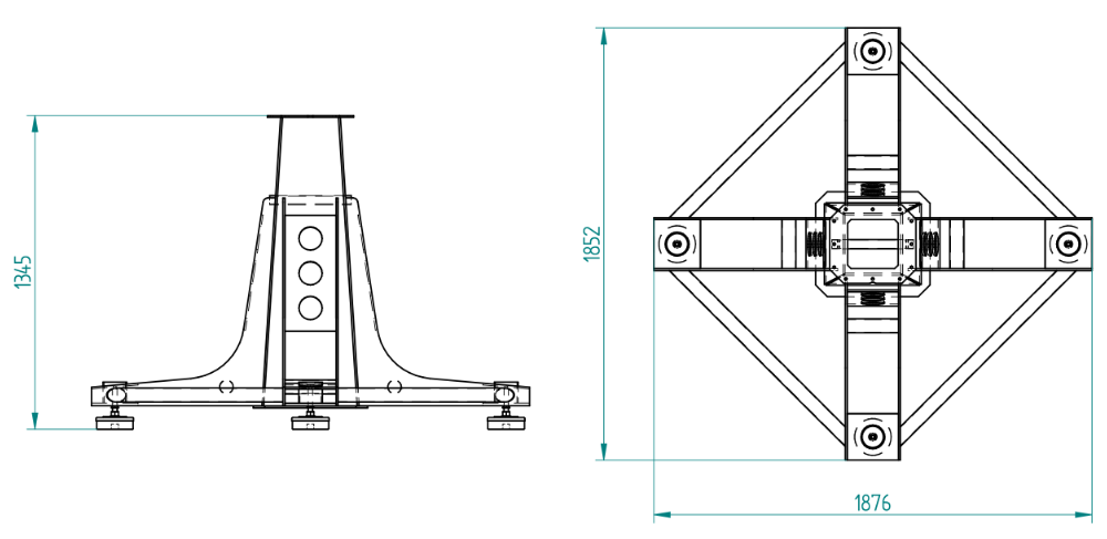 C106-HEAVY-F pier with legs: dimensions (mm)